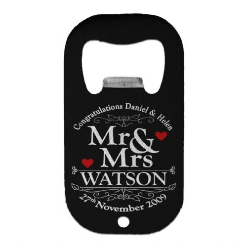 Personalised Congratulations Mr & Mrs. Stainless Steel Beer Bottle Opener